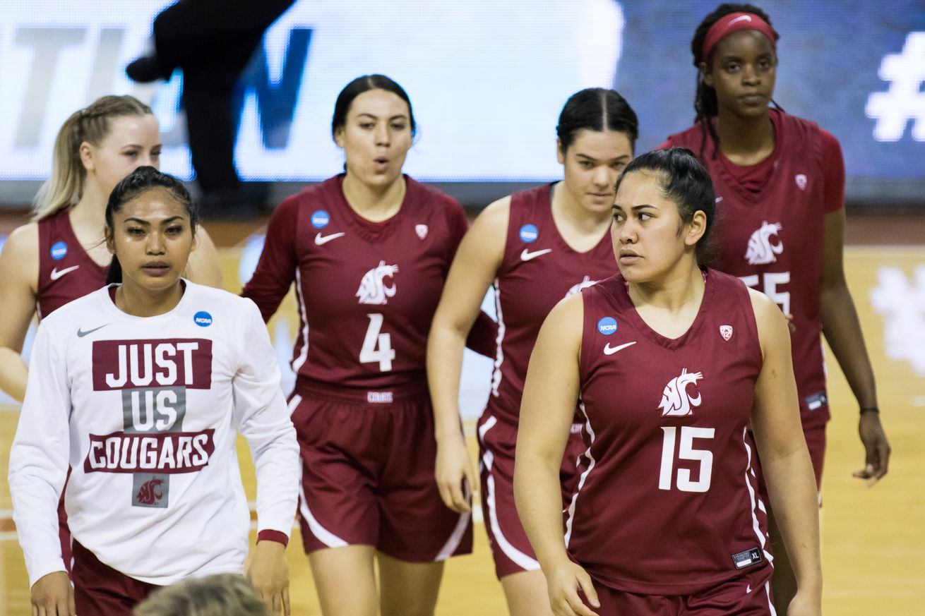 AUSTIN, TX - MARCH 21: Washington State forward Ula Motuga (15) stares down the opposition prior to the Women's NCAA Tournament First Round matchup between the USF Bulls and the Washington State Cougars on March 21, 2021, at Frank Erwin Center in Austin, TX.