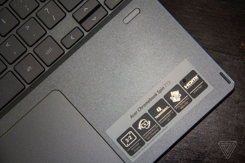 The right palm rest of the Acer Chromebook Spin 713 seen from above, angled to the right.