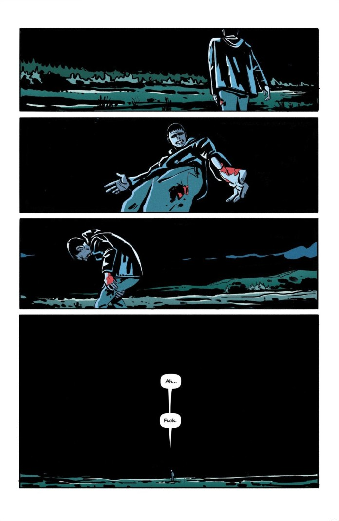 """Shot in the leg, Killian stumbles out into the countryside, muttering """"Ah... fuck."""" in small white word balloons dwarfed by the blackness of a cloudy night, as he realizes how hopeless his situation is, in Bog Bodies, Image Comics (2020)."""