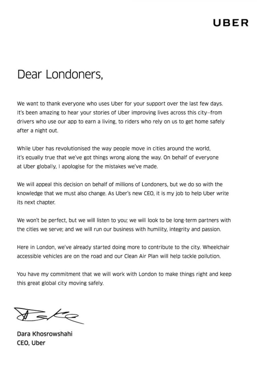 Ubers new CEO issues public apology to London for companys mistakes  The Verge