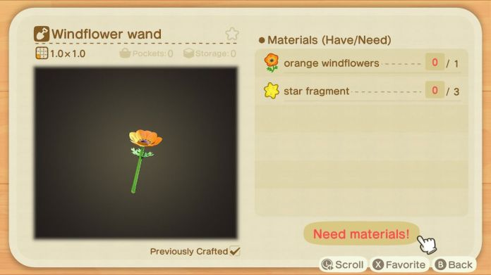 A recipe list for a Windflower Wand