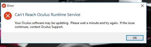 Oculus Rift error message