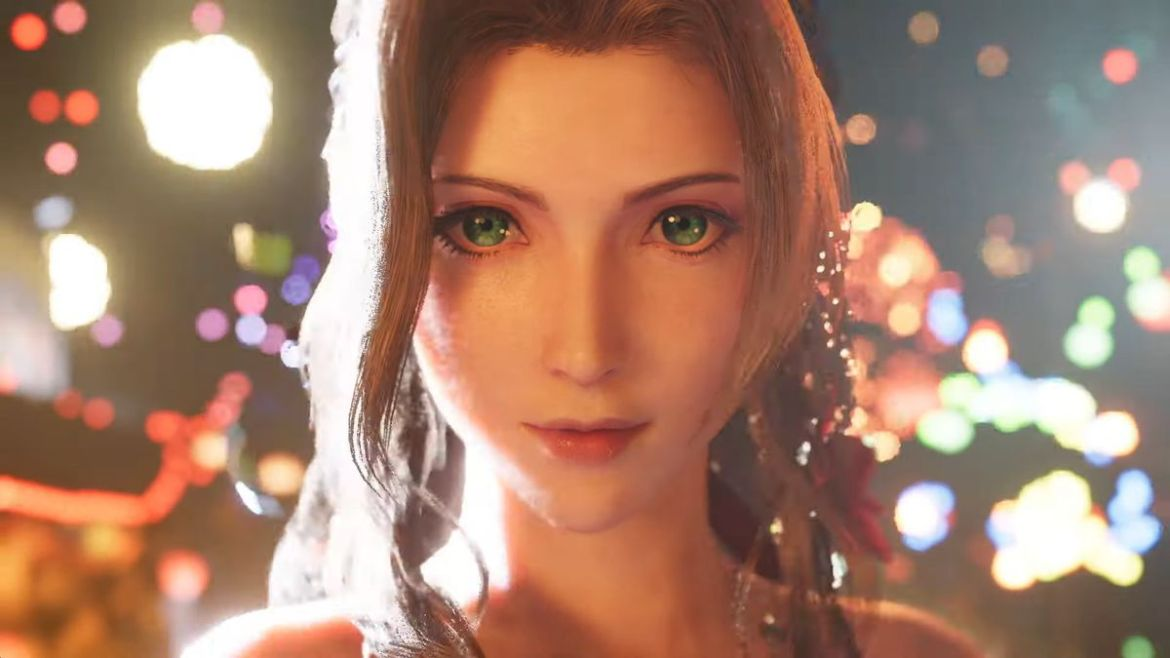 Aerith looks beautiful and done-up as fireworks fire off behind her in the Final Fantasy 7 Remake.