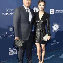 Hyun-Jin Ryu and wife Bae Jihyeon at the Blue Diamond Gala.