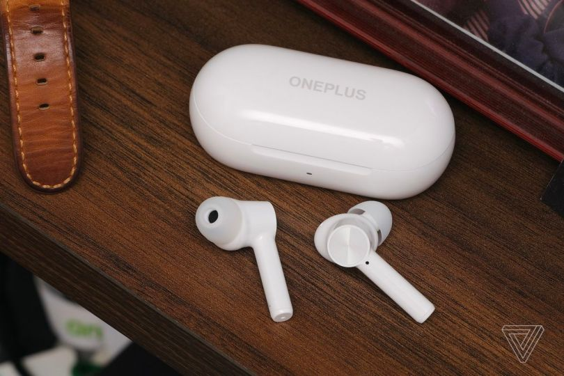 The OnePlus Buds Z, pictured on a shelf, are great budget wireless earbuds that cost only .