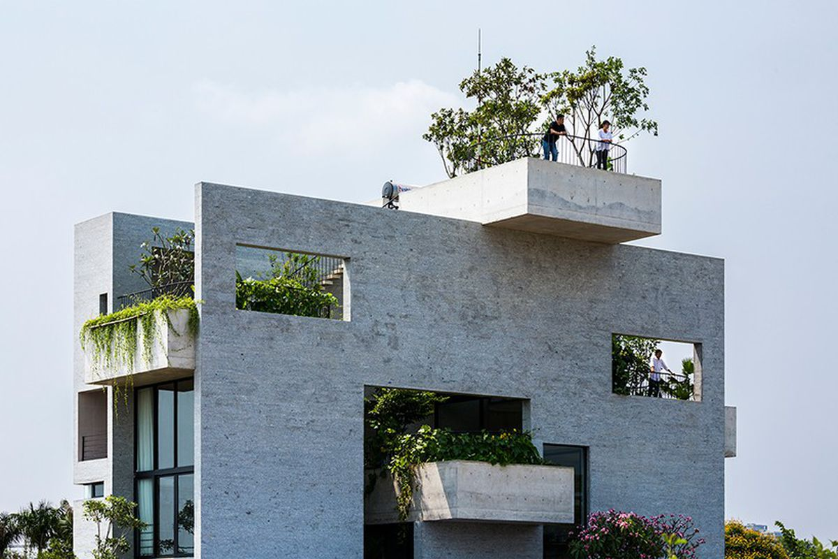 Gorgeous Concrete House Is Stacked With Courtyard Gardens