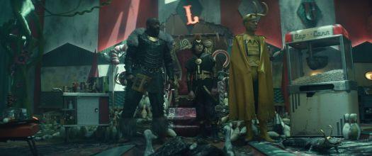 Alternate Lokis Classic Loki, Boastful Loki, Kid Loki, and Alligator Loki survey their hideout in Loki
