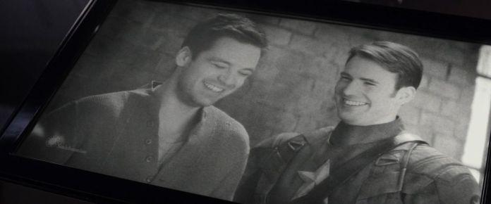 Bucky Barnes and Steve Rogers in Captain America: Civil War (2014).