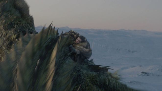 Jon and Dany and dragons in Winterfell