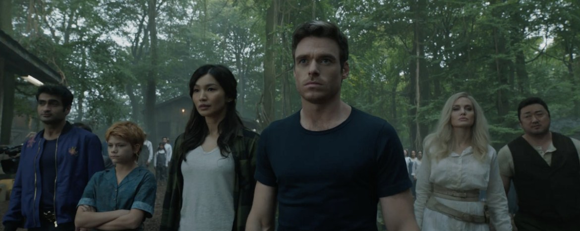 the eternals all in a row, with Ikaris (Richard Madden) in the middle