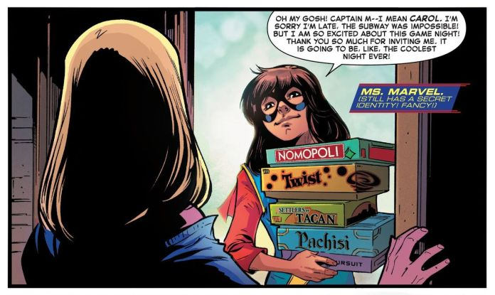 """Ms. Marvel arrives to Captain Marvels' game night with a stack of cleverly off-brand board games with names like """"Settlers of Tacan"""" and """"Nomopoli,"""" in Captain Marvel #17, Marvel Comics (2020)."""