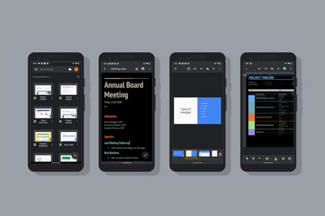 Google_Dark_Mode_Android.0 Google Docs, Sheets, and Slides now have a dark theme on Android | The Verge