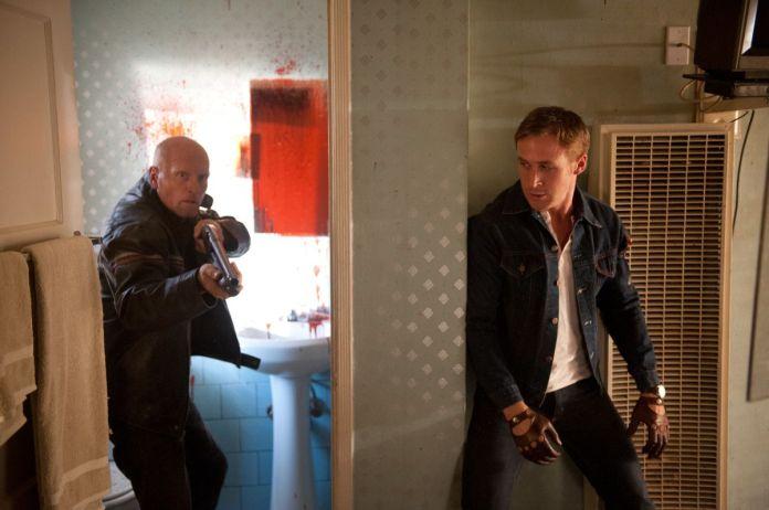 Ryan Gosling as the Driver about to ambush a gunman in Drive (2011)