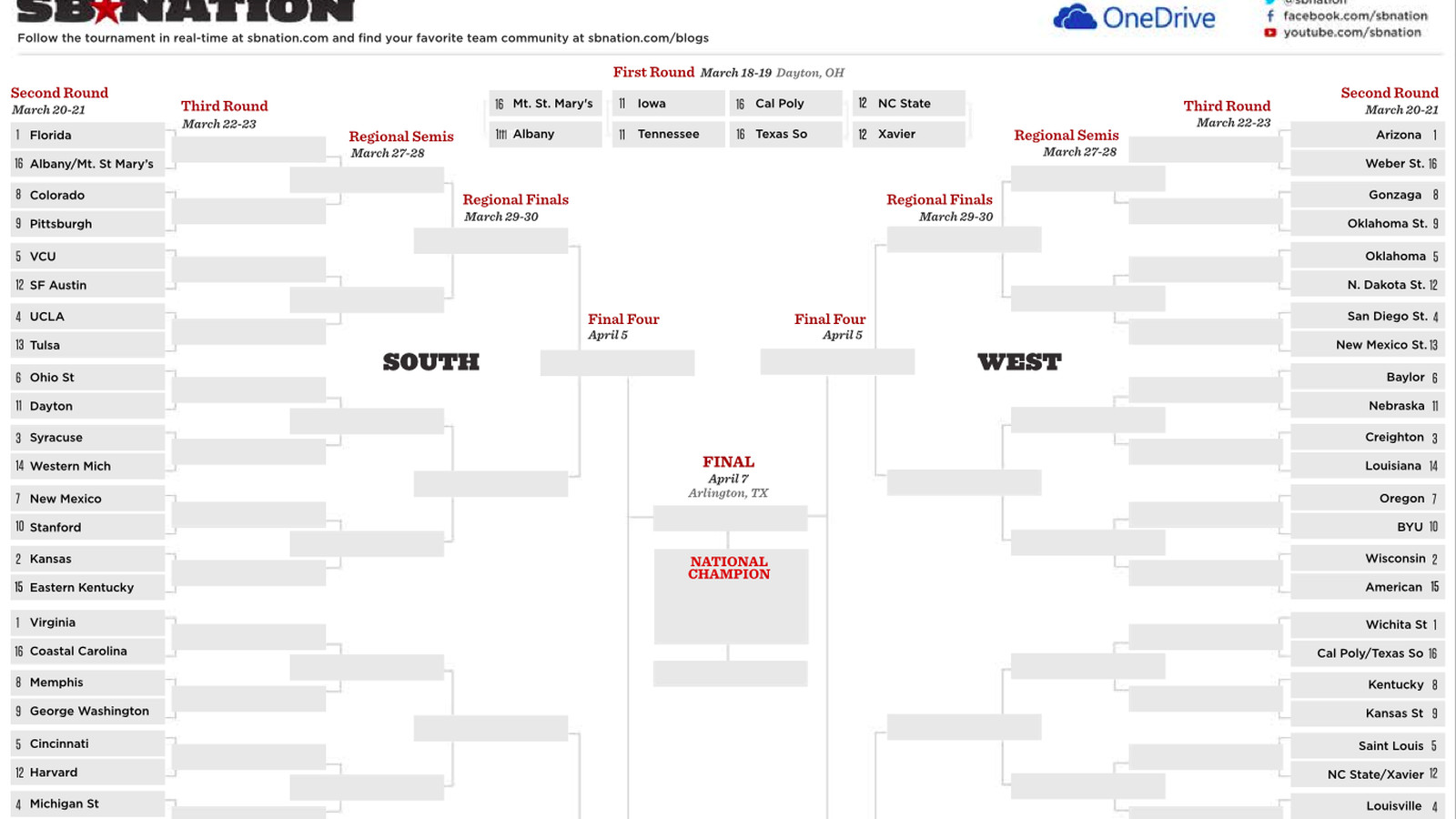 Printable NCAA bracket 2014: Fill out your picks with our