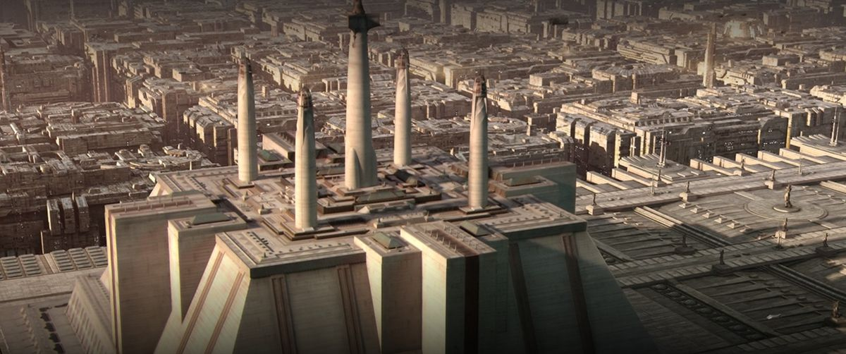 A massive Jedi temple sits in the middle of a city that covers the entire planet of Coruscant in Star Wars