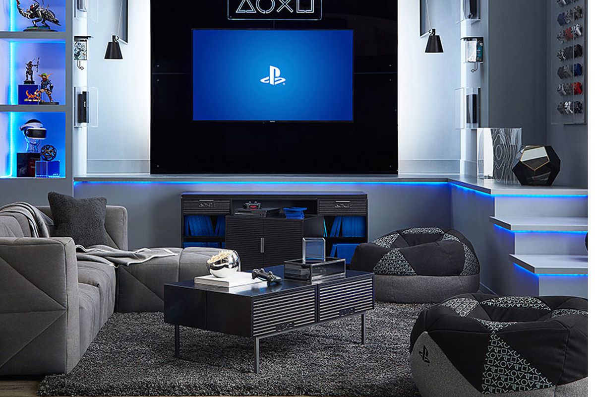pottery barn living room furniture sets best paint colors for and dining s playstation is the new high end gamer chic