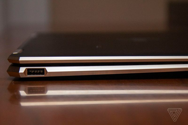 The back left corner of HP Spectre x360 14 up close.
