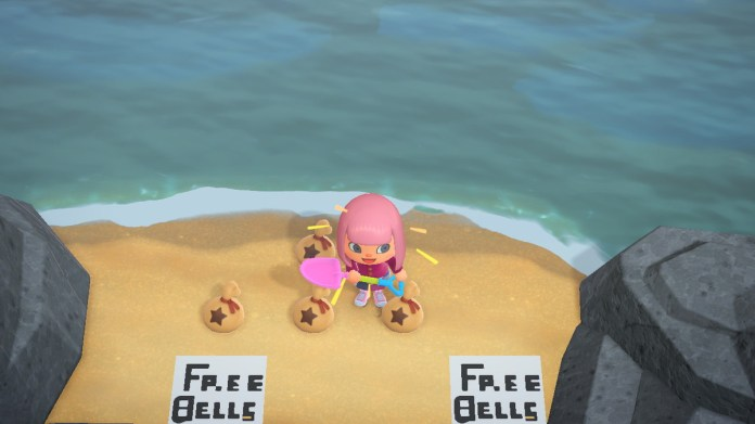 """Animal Crossing: New Horizons - a player stands on the beach, surrounded by bells and """"FREE BELLS"""" signs"""