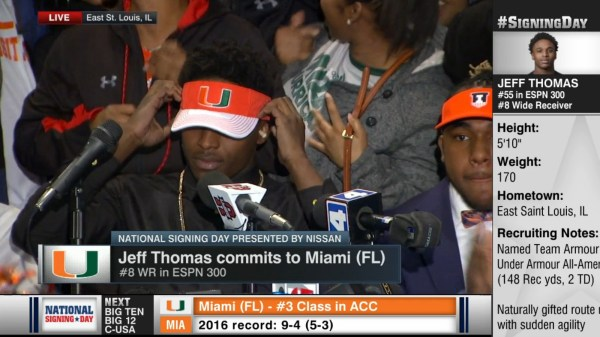4-star Wr Jeff Thomas Commits Miami Over Tennessee