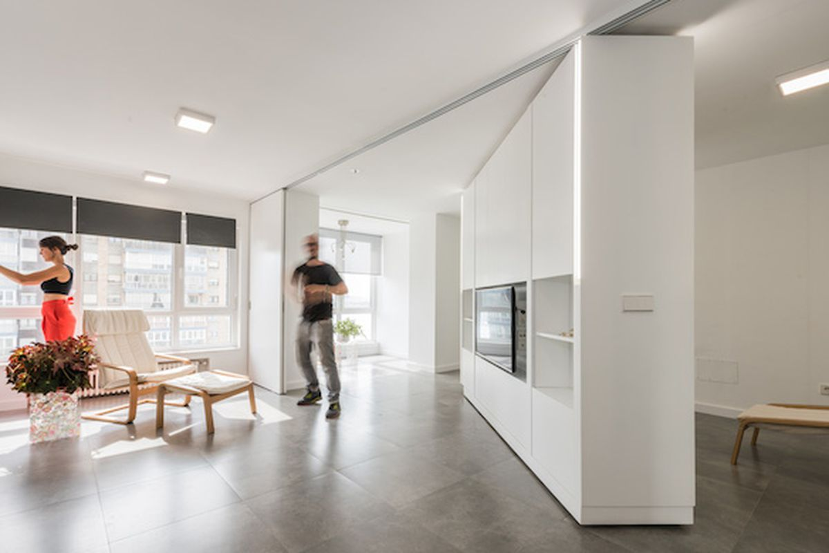 Movable Walls Transform Giant Studio Into TwoBedroom Pad