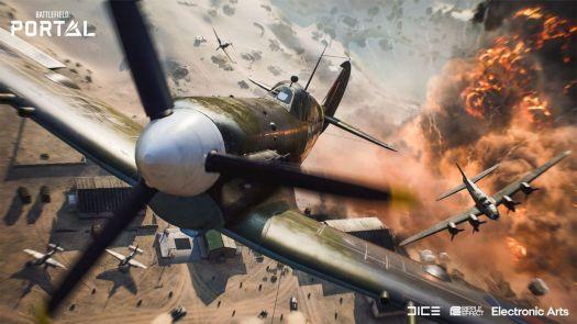 A propeller plane flies in Battlefield Portal