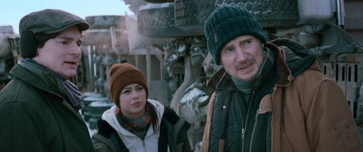 Liam Neeson wearing a knitted cap in The Ice Road