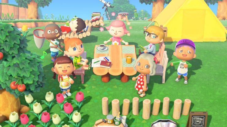 A group of citizens participated in a picnic in a photo from Animal Crossing: New Horizons
