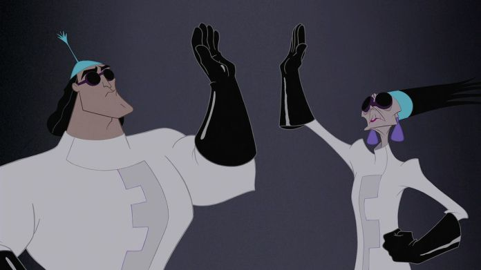 yzma and kronk in lab coats, high-fiving each other