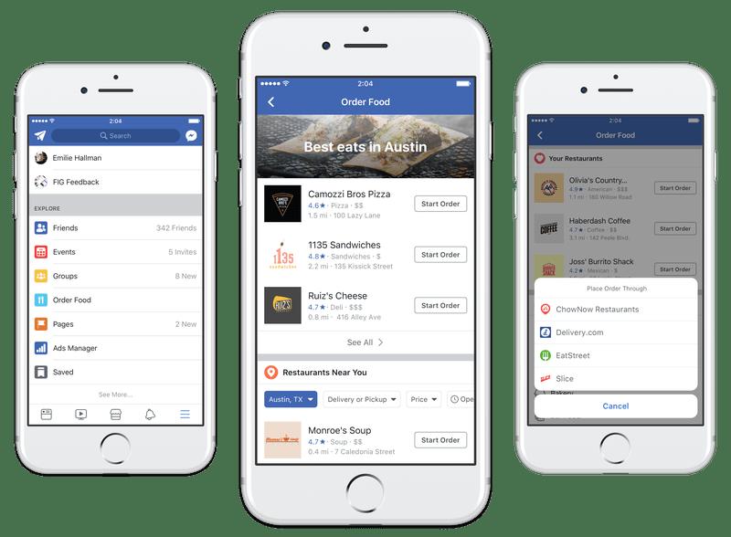 Facebook agora permite pedir comida para entrega em seus apps e website