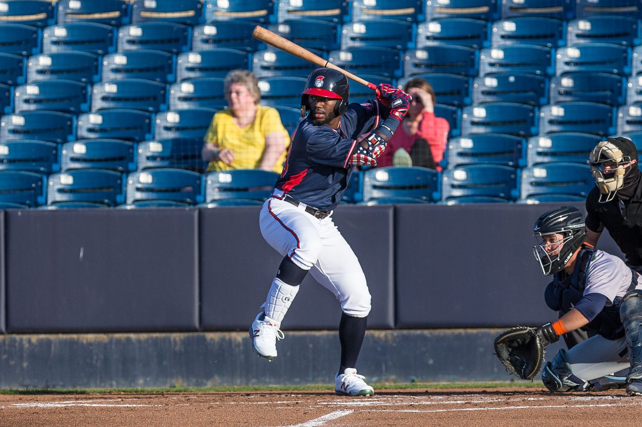 Michael Harris, Atlanta Braves prospect, takes a swing in a game for the Rome Braves