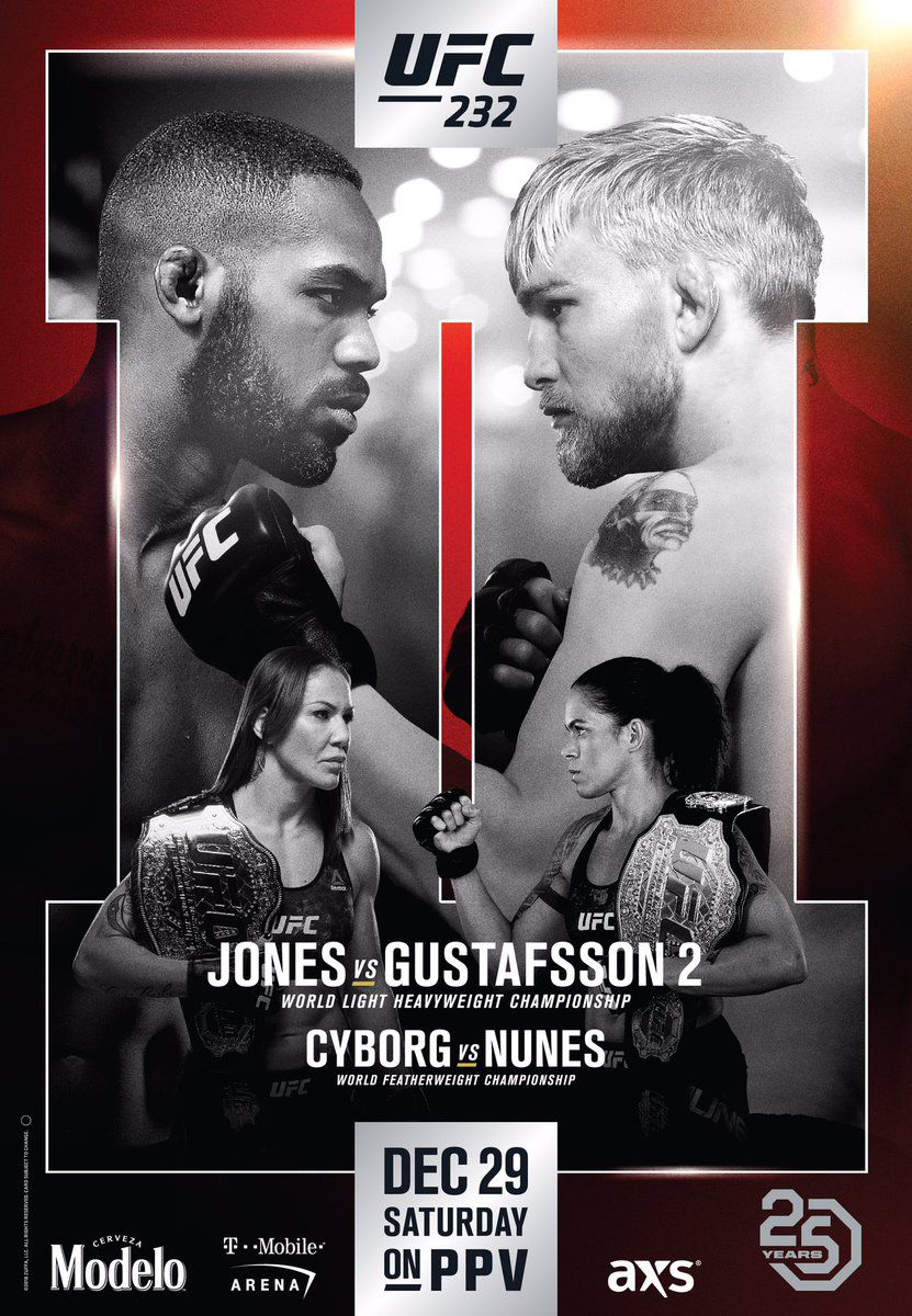 Pic Ufc 232 Poster Drops For Jones Vs Gustafsson 2 On