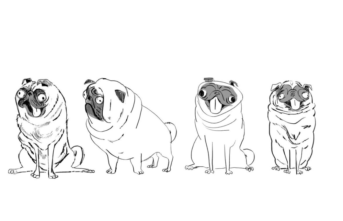 Lindsey Olivares' early concept sketches of Monchi sitting and standing, with his eyes askew and tongue hanging out