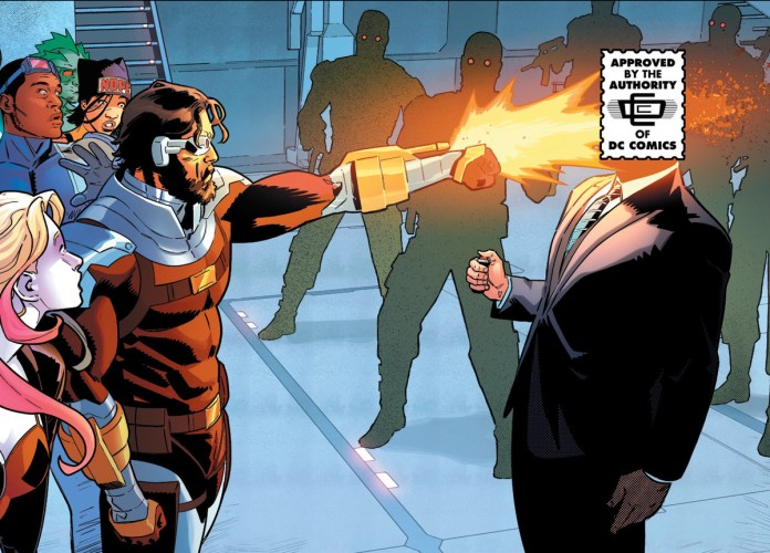 Deadshot blows Lok's head off at point blank range. Lok's exploding head is covered by a DC comics parody stamp in homage to the Comics Code seal, in Suicide Squad #5, DC Comics (2020).