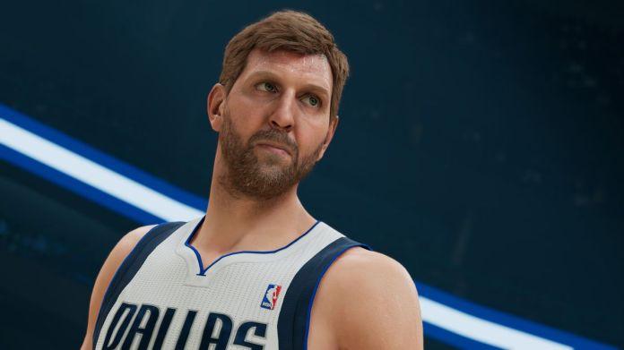 a close-up of a midcareer Dirk Nowitzki in NBA 2K22