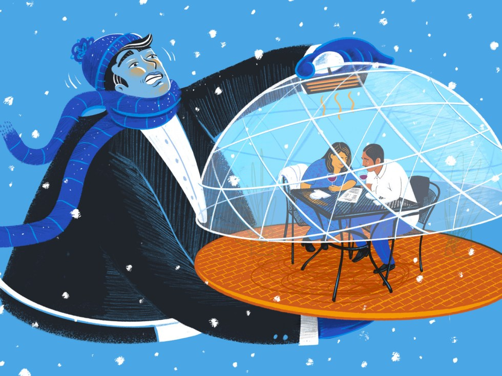 An illustration of a server dressed for cold weather, presenting a tray that holds a tiny dining couple in a winterized dome.