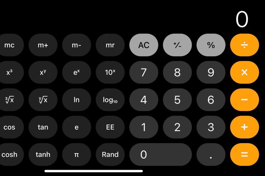 A screenshot of the iOS default calculator in landscape mode.