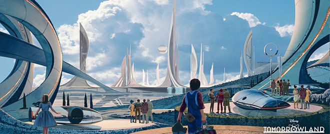 Artist's illustration of a futuristic cityscape featuring elaborate, curved towers that look like ship's sails.