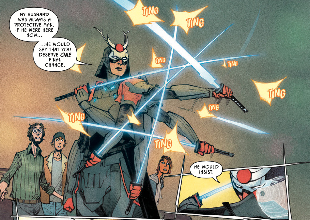 Future State: Outsiders: Katana works her sword magic on some incoming bullets