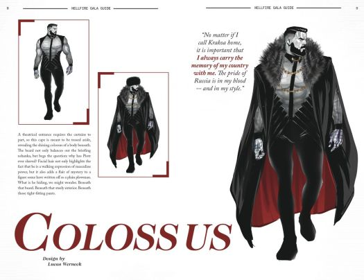 Concept art for Colossus' Hellfire Gala outfit, which includes a bare-chested top adorned with gold chains, tight pants, and a fur-topped cloak and ushanka hat in Hellfire Gala Guide, Marvel Comics (2021).