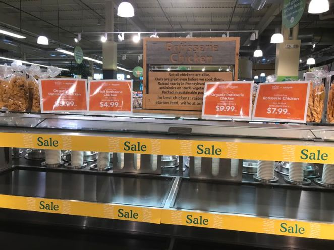 Whole Foods rotisserie chicken sale on Day One of Amazon ownership