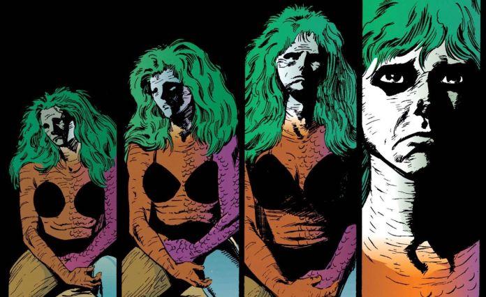 Four silent panels of Rainie, aka Element Girl, in the Sandman issue Facade.