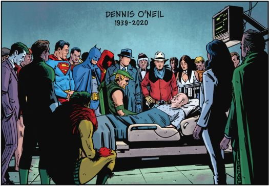 More than a dozen DC superheroes and villains stand around the hospice bed of late comics writer Denny O'Neil in Green Arrow 80th Anniversary 100-Page Super Spectacular (2021).