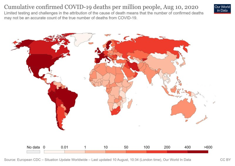A map of Covid-19 deaths around the world.