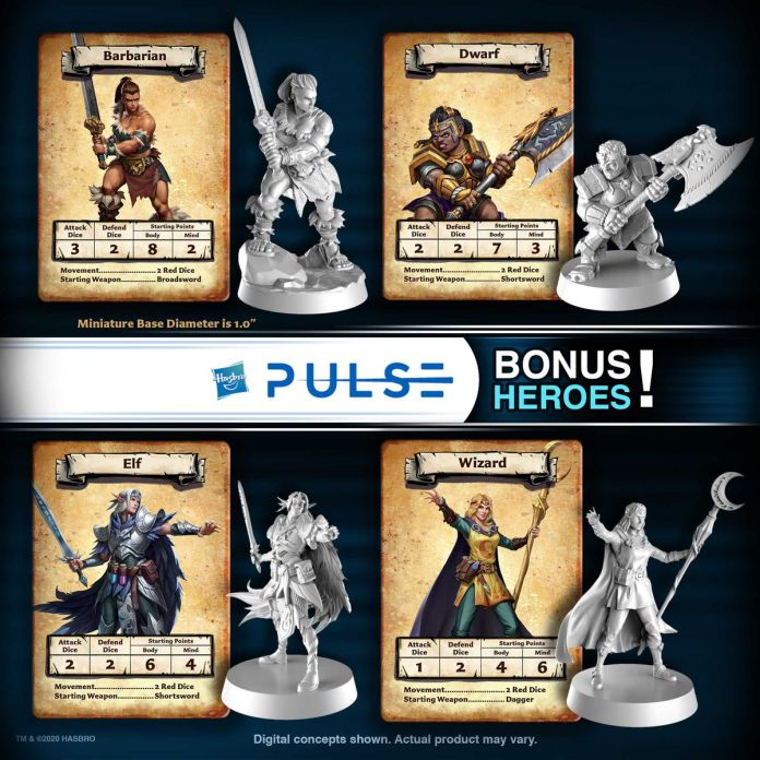 Four alternate hero sculpts, including a female barbarian, dwarf, and wizard and a male elf.