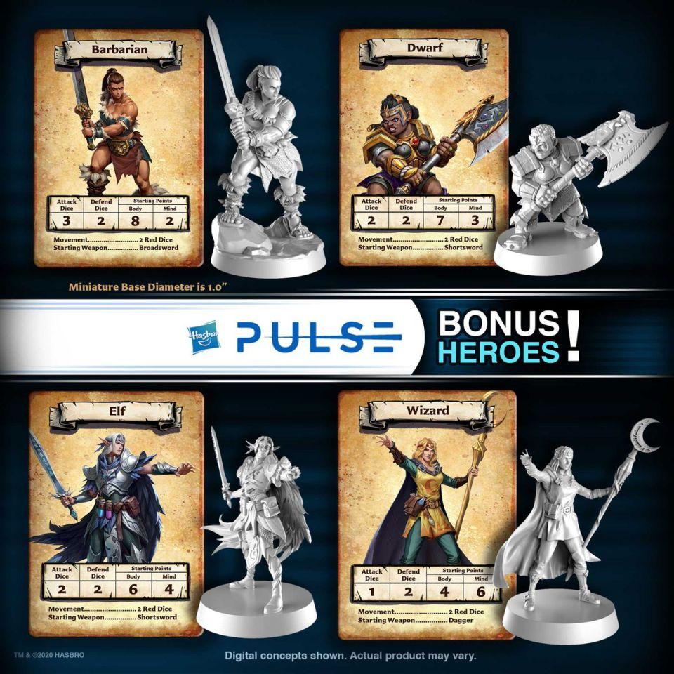 Quatre sculptures de héros alternatifs, dont une femme barbare, naine et sorcière et un elfe mâle.