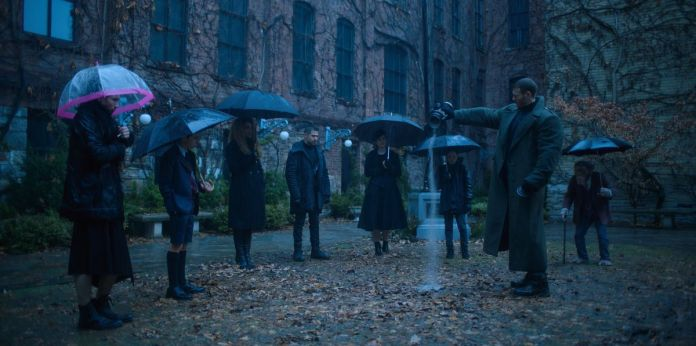 the hargreeves siblings gathering for their father's funeral