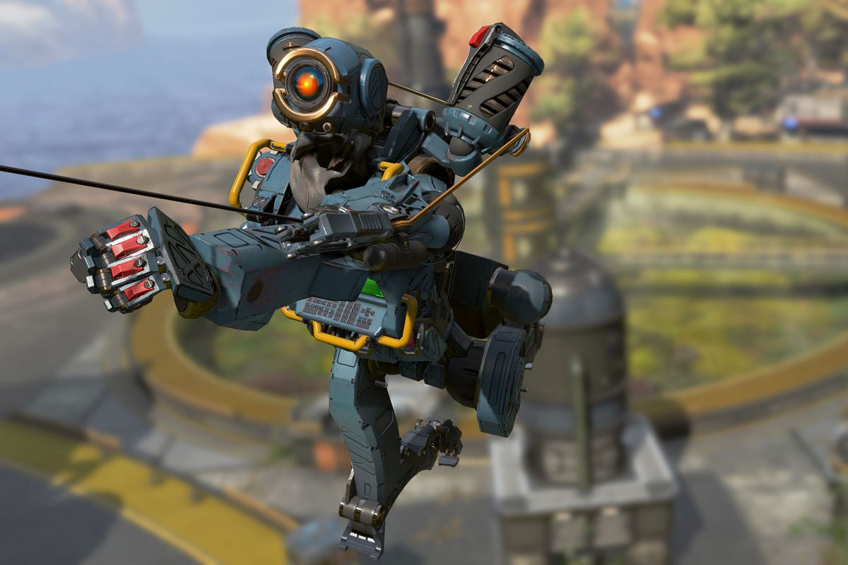 hight resolution of apex legends pathfinder uses its grapple