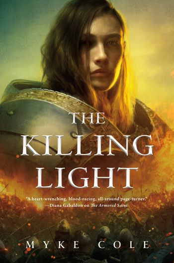 the killing light cover with a female knight's face hovering above a bloody battle