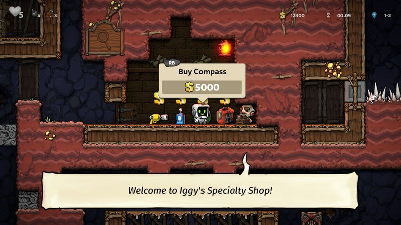 In Spelunky 2, our hero considers buying a compass.