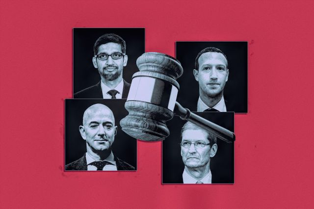 A photo illustration of a gavel center screen surrounded by black and white square cutouts of Sundar Pichai, Mark Zuckerberg, Jeff Bezos and Tim Cook over a red background.